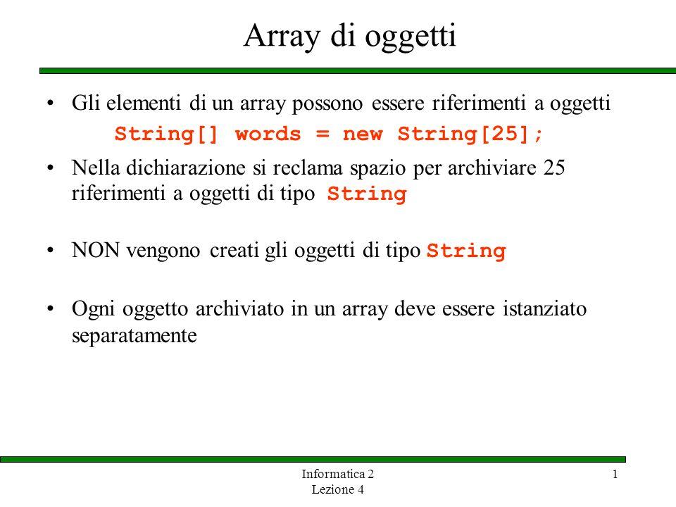 Array di oggetti Gli elementi di un array possono essere riferimenti a oggetti. String[] words = new String[25];